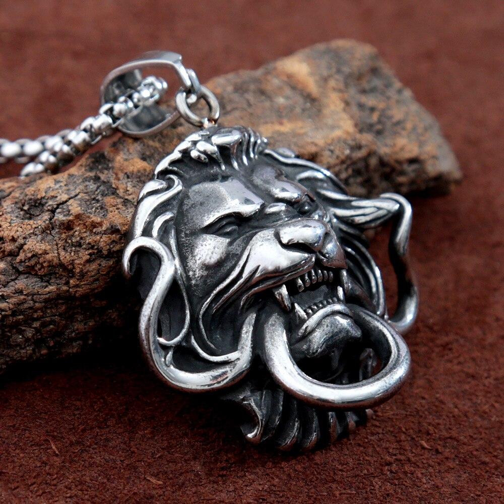الهيب هوب الفولاذ المقاوم للصدأ الأسد الملك قلادة الشرير الصخرة الحيوان الكبير الأسد رئيس قلادة قلادة للرجال موضة الذكور مجوهرات هدايا