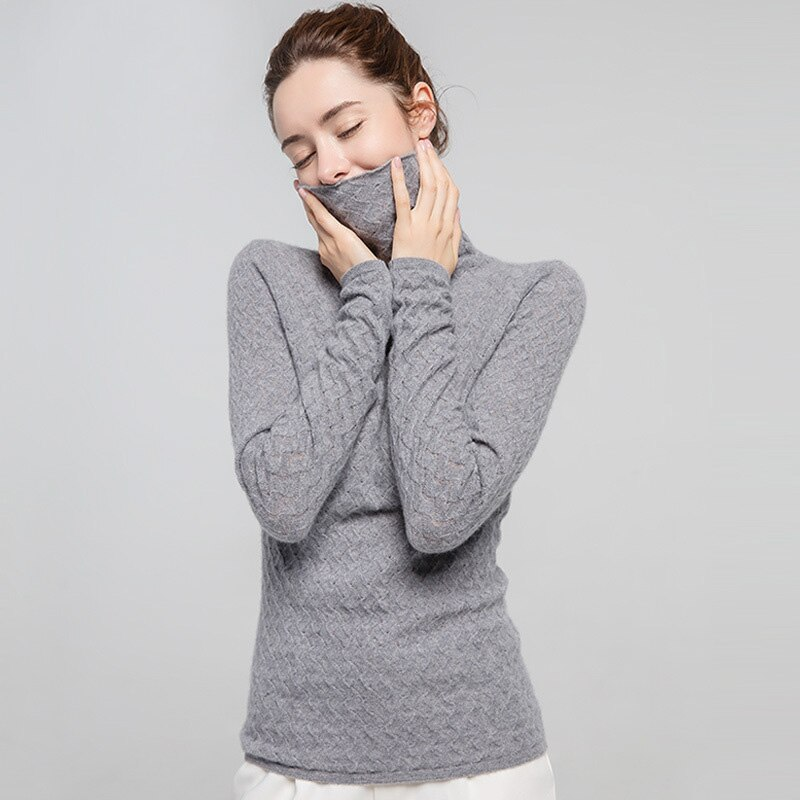 SuyaDream Women Pullover 100%Cashmere Sweater For Women Computer Knits 2020 Fall Winter Turtleneck Sweaters Bottoming Knitwear enlarge