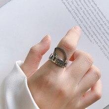 خاتم من الفضة الإسترليني 925 للنساء بتصميم عتيق على الطراز القوطي مقاوم للماء طراز 925