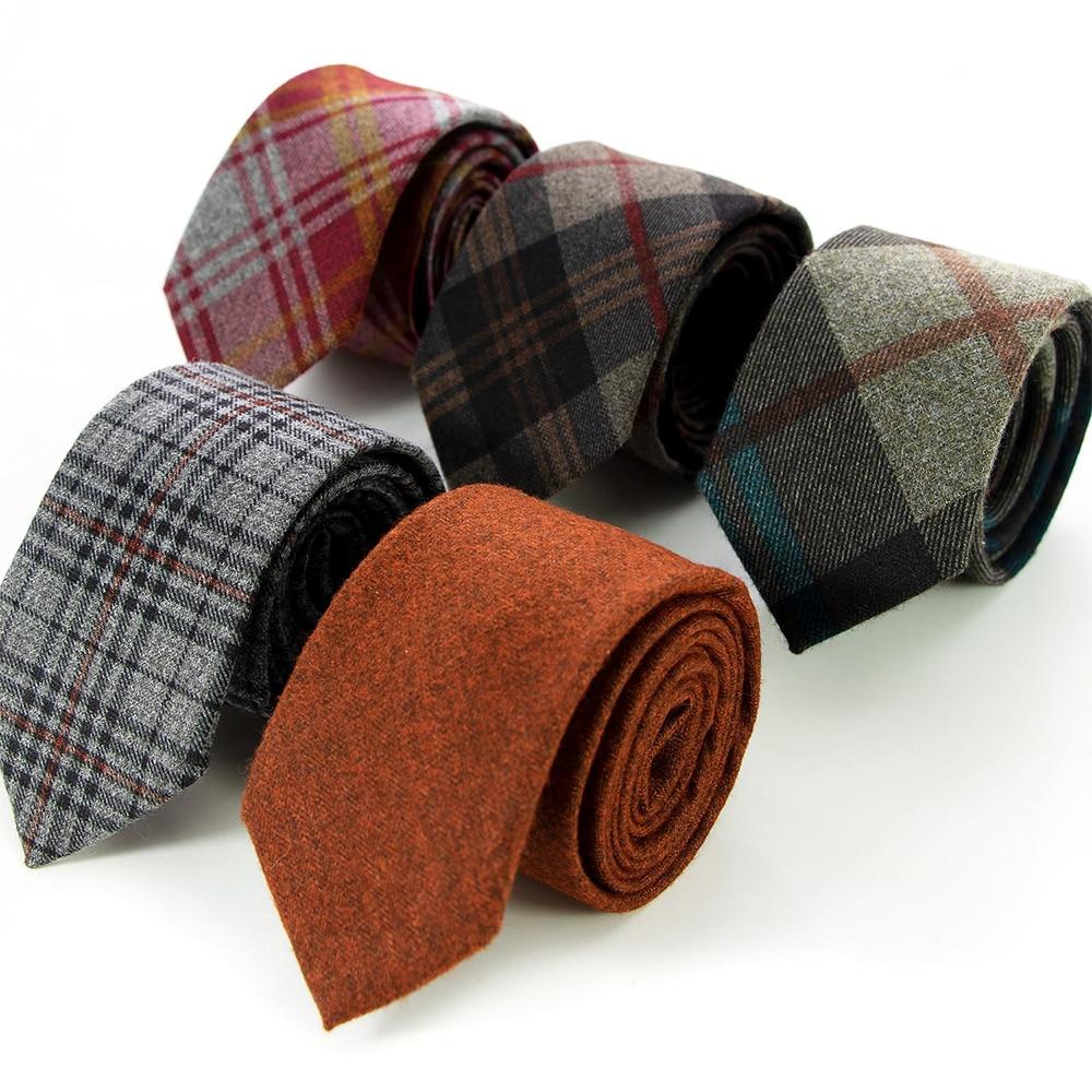 Fashion Men's Wool Cotton Striped Skinny Tie 6cm Narrow Slim Cravate ties for men Casual wedding business neckties gravatas