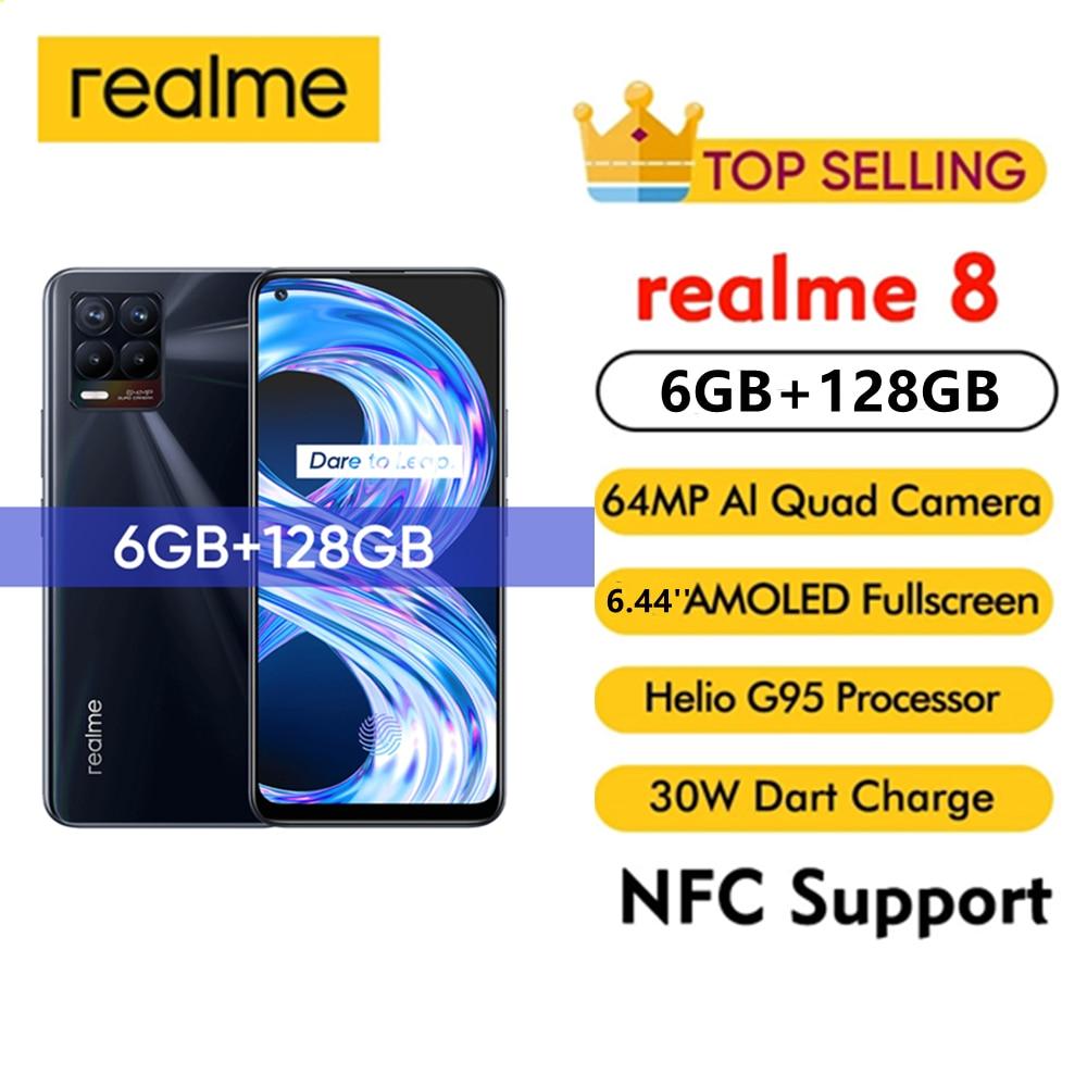 realme 8 Global Version Smartphone 6GB 128GB 64MP Quad Camera 5000mAh 30W Fast Charger 6.44