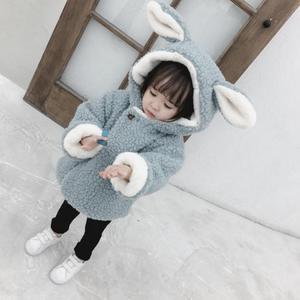 Winter Baby girls coat children's cute warm jacket cartoon two-faced wool sweater plus velvet thickening coat boys&girls 1-5 y