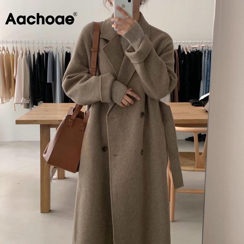 Aachoae معطف صوف طويل أنيق للمكتب للنساء مع حزام كم طويل معاطف مزدوجة الصدر معاطف نسائية أنيقة ملابس خارجية 2021