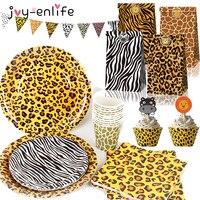 Животные с изображением тигра, начинающих ходить; Расцветка Зебра, леопард упаковочный мешок для сафари День рождения украшение для вечери...