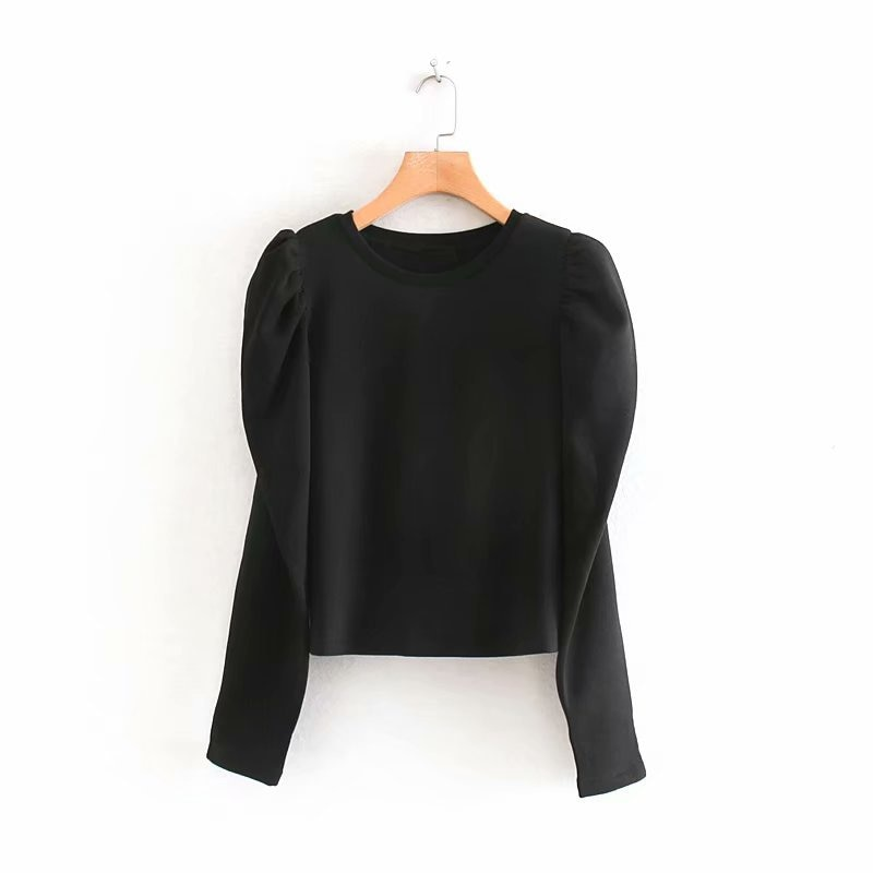Womem elegante negro gris sudadera cuello redondo manga larga Puff Pullover ropa de oficina mujer elegante suelto Tops
