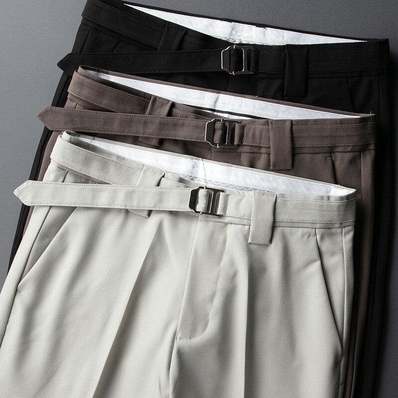 2021 ледяные шелковые тонкие брюки, мужские облегающие летние Молодежные однотонные корейские модные деловые повседневные брюки