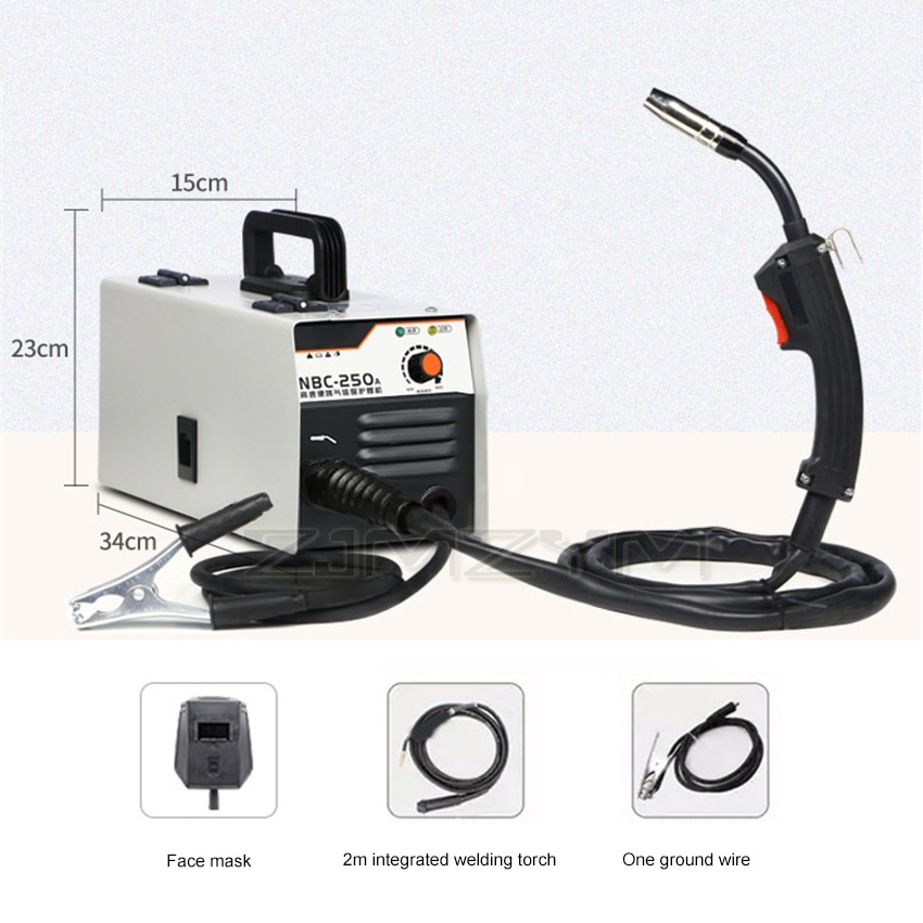 NBC-250A Home Gas-free Welding Torch Carbon Dioxide Gas Shielded Welding Machine Sngle-use Integrated Welder 220V 5.5kw 0.5-5mm