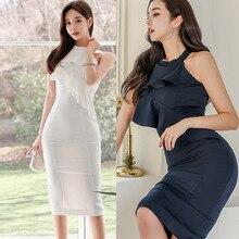 HAYBLST Brand Dress Women's 2020 Summer Plus Size Elegant Kawaii Sexy Vestidos Korean Style Silm White Package Buttocks Clothing