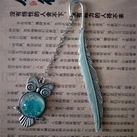 1pc luminous glow in the dark silver copper feather shape owl bookmarks creative gift for friends cute school supplies