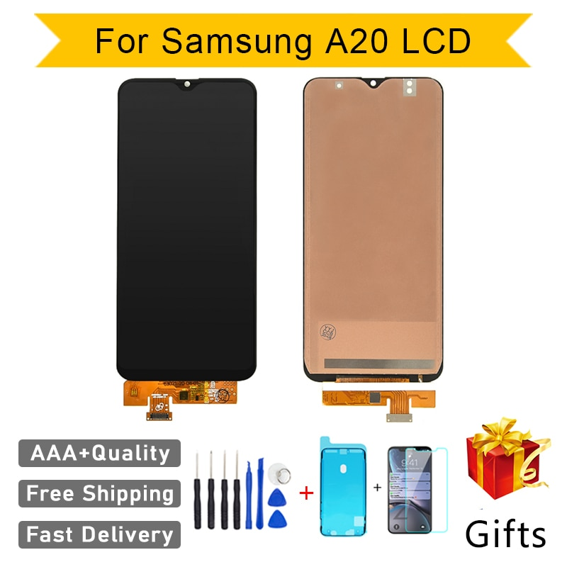 إصلاح مثالي AAA + + Incell LCD لسامسونج A20 A205 A205F شاشة عرض استبدال الجمعية محول الأرقام الهاتف اللمس بانتيلا