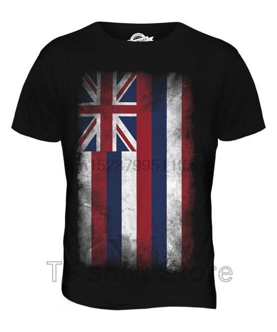 Funny Print Men T shirt Women cool tshirt HAWAII STATE FADED FLAG MENS T-SHIRT TEE TOP HAWAIIAN SHIRT JERSEY GIFT