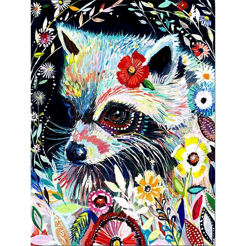 Gatyztory цветная лиса Diy живопись по номерам животное холст окраска ручная роспись художественное оформление стены 60 × 75 см