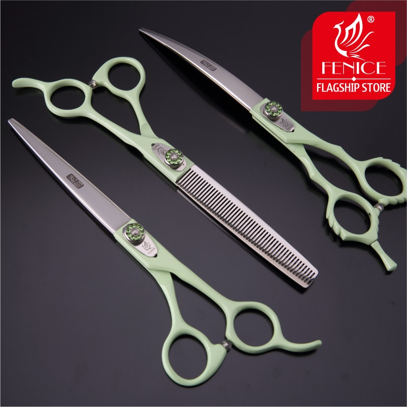 Fenice 7.0/7.5 inch Professional Pet Grooming Scissors SET Thinning Curved Shear Kit Japan 440C Groomer Tool