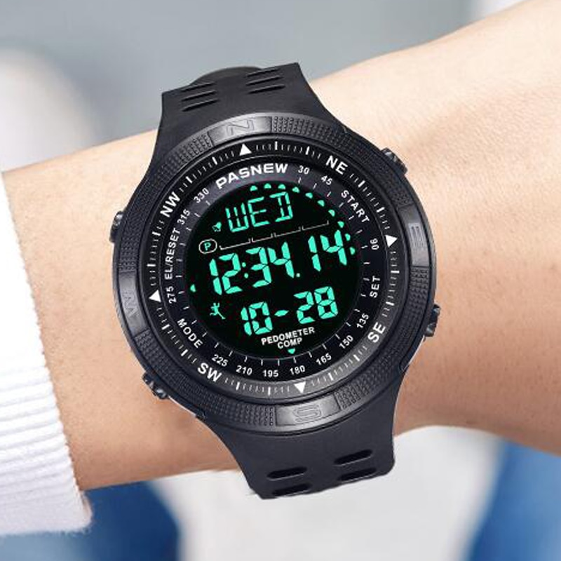 2020 PASNEW Men Watches Top  Brand Luxury Sports LCD Electronic Watch 50M Waterproof Swimming Watch