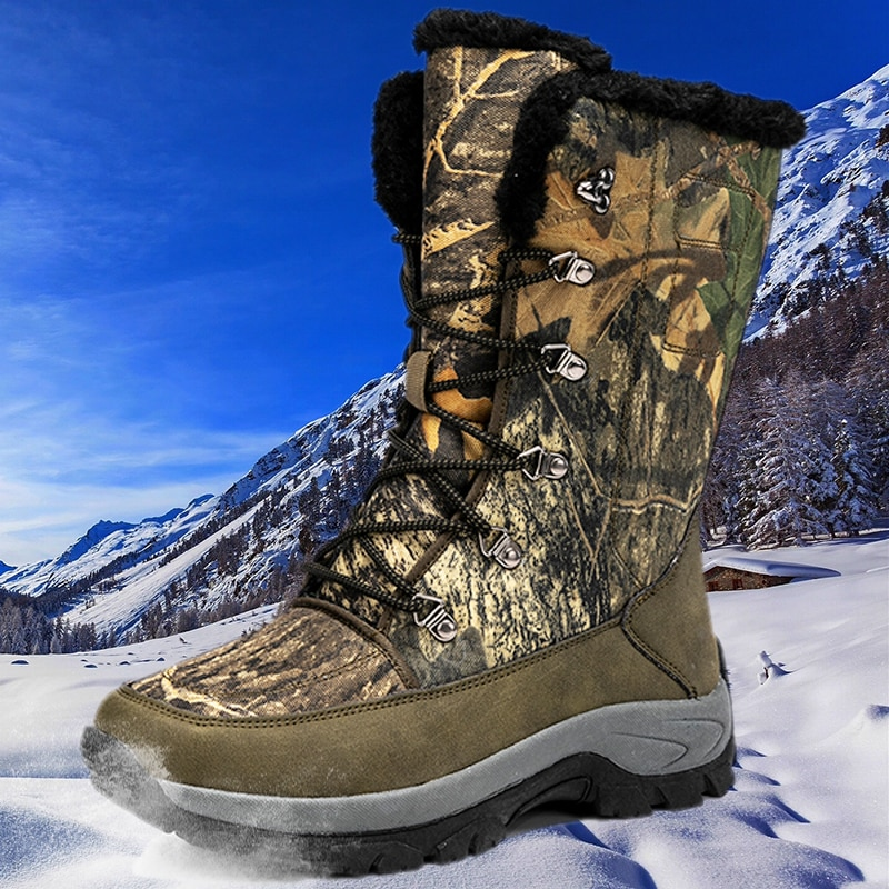 New Winter Hiking Shoes Men Snow Non-slip Mountain Sports Boots Outdoor Ankle Warm Boots Snow Work Boots Large Size Hunting Shoe