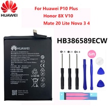 Hua Wei Original HB386589ECW 3650mAh For Huawei P10 Plus P10Plus Honor 8X View 10 V10 Mate 20 Lite Nova 3 4 Phone Battery