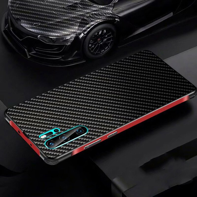 Para Huawei P30 Pro P30 Lite P20 Pro Lite Nova 4e 3e funda de fibra de carbono trasera + marco de Metal parachoques cubierta de Airbag Funda de teléfono