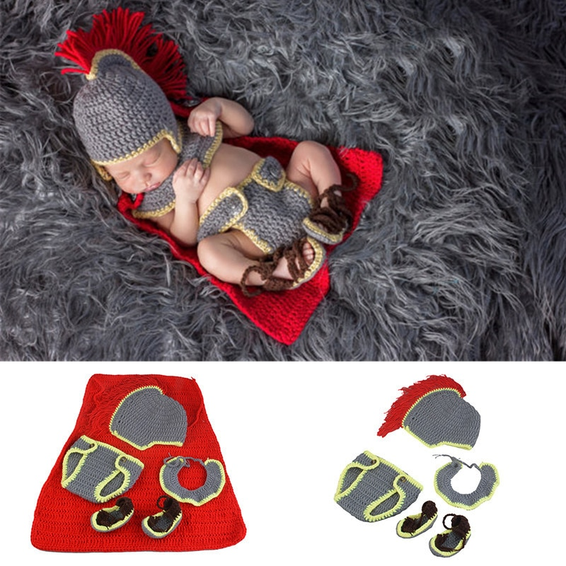 Army general crochet newborn photography props knitted baby hat and diaper set costume for photo shoot Infant Shower gift