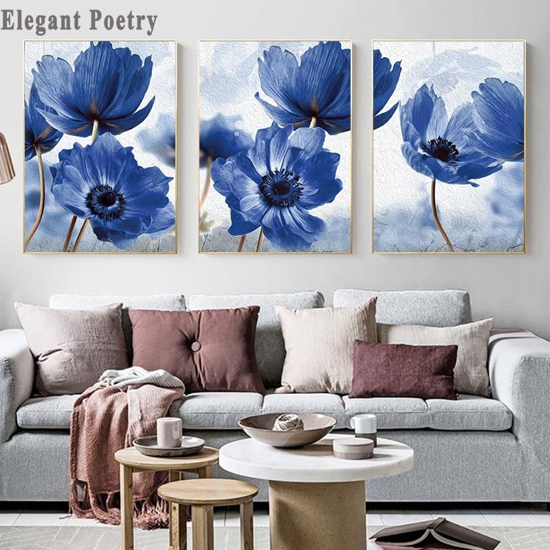 Цветочный ботанический холст печать абстрактный синий цветок завод плакат скандинавском стиле настенная живопись скандинавские украшени...