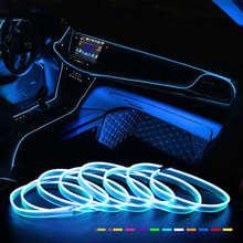 Автомобильная неоновая светодиодсветильник гирлянда, Цветная декоративная лампа для создания атмосферы в салоне, проводной трос, Гибкая т...