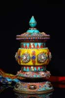 old bronze heavy industry gem dzi bead turquoise old prayer wheel recite scripture pagoda dharma exorcism town house
