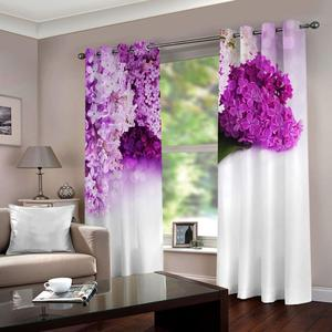 Romantic 3D Curtain Living Room purple and white Curtains For Bedroom Window Blackout Drapes Hotel Home Decor Drapes