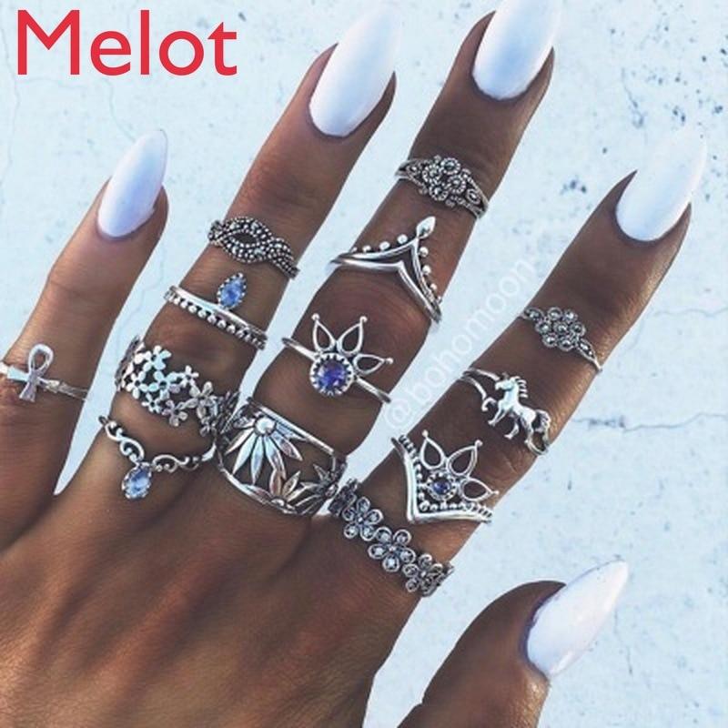 European Simple Retro Fashion Cartoon Unicorn Lotus Hollow Jewel 13-Piece Set Women's Ring Suit Decorative Ring Free Shipping