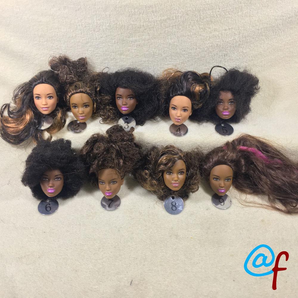 B17-2 Original de comercio exterior europeo, belleza marrón 1/6, cabeza de muñeca desnuda de OOAK para DIY, cabeza suave de PVC