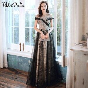 Роскошное Черное вечернее платье 2021, элегантное платье-трапеция до пола с круглым вырезом и открытыми плечами, длинные платья для выпускного вечера с аппликацией