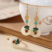 hetian jade peace buckle eardrops silver plated white jade ring cloisonne auspicious cloud earrings turquoise court accessories