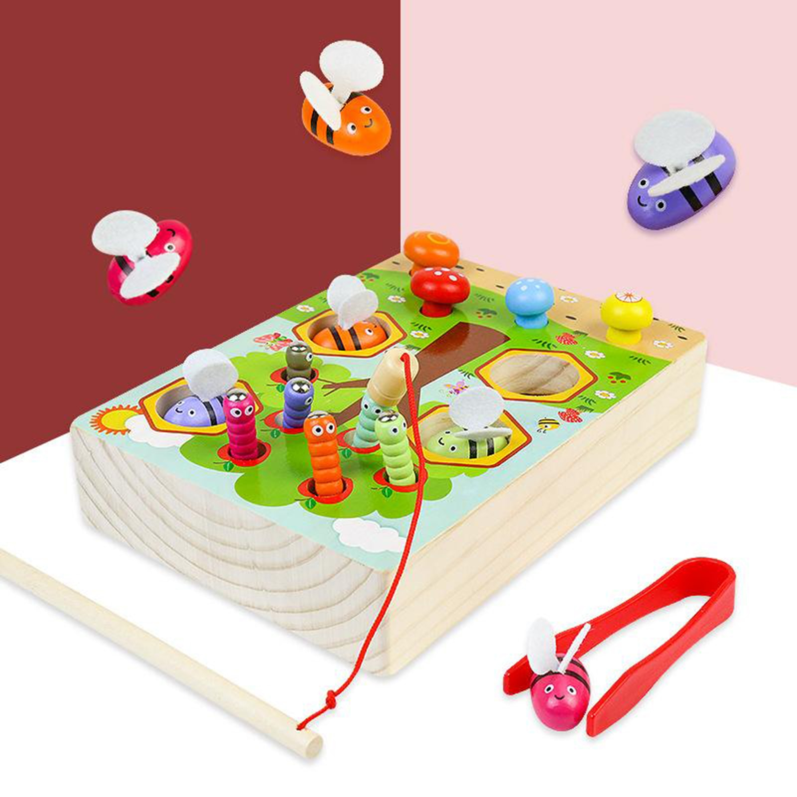Montessori Educational Wooden Toys Materials Kids Clip Bee Magnetic Fishing Catch Worm Interactive Toys For Toddlers Children недорого
