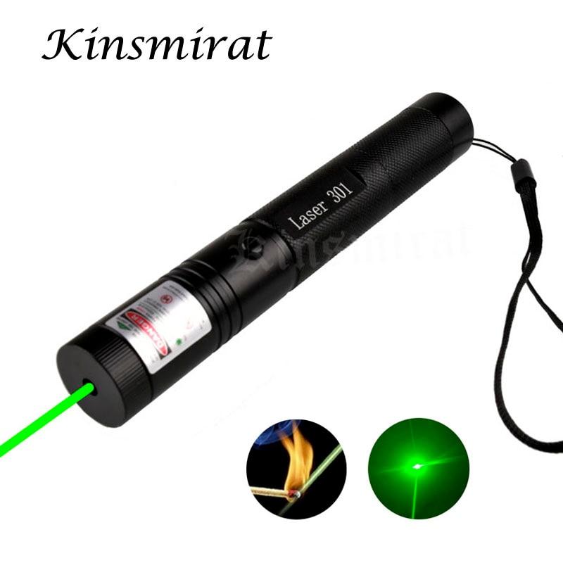 1 шт. Высокая мощность 301 зеленый свет лазерная указка ручка регулируемый фокус 532nm Lazer Ручка Видимый луч без батареи