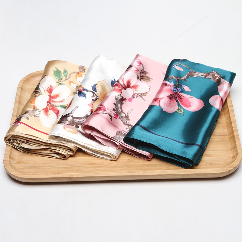 2019 Hijab Scarf For Women Floral Print Kerchief Silk Satin Hair Handkerchief Scarfs Female Square Wraps Head Scarves For Ladies
