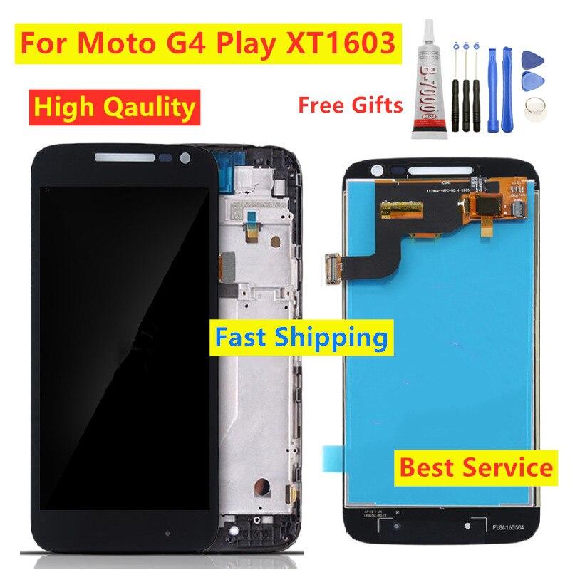 Para Motorola Moto G4 Play XT1603 XT1601 XT1604 XT1602 pantalla LCD reemplazo de Digitalizador con marco de montaje de pantalla táctil