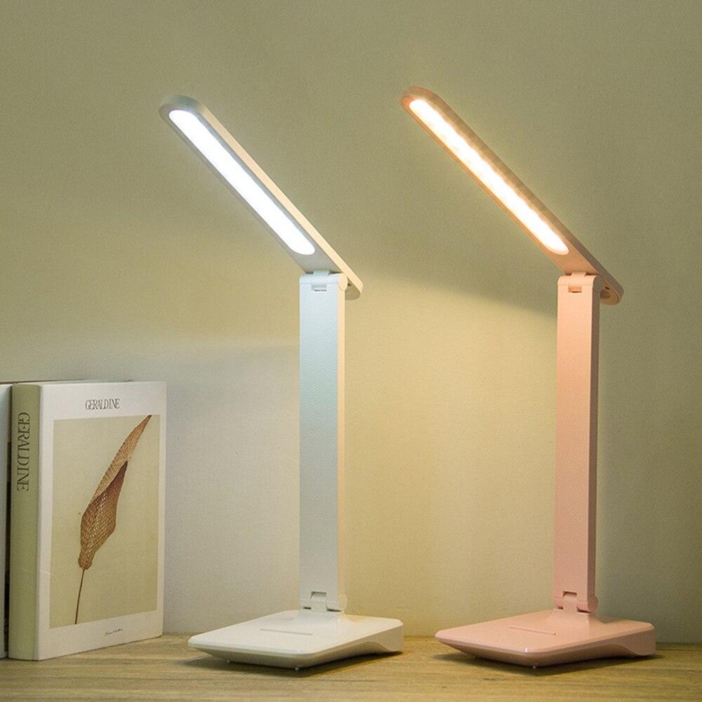 Soporte plegable para lámpara LED de escritorio, soporte para teléfono, Base recargable, de 9W Interruptor táctil, lámpara regulable para mesa de estudio, para oficina y trabajo de Estudiante
