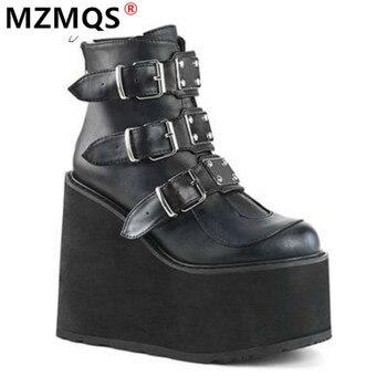 2020 зимние сапоги с металлической пряжкой; Ботильоны женские ботфорты в стиле «панк», женские туфли на платформе; Туфли на высокой танкетке, увеличивающие рост, на высоком каблуке, из искусственной кожи; Женские ботинки; Botas Mujer размера плюс