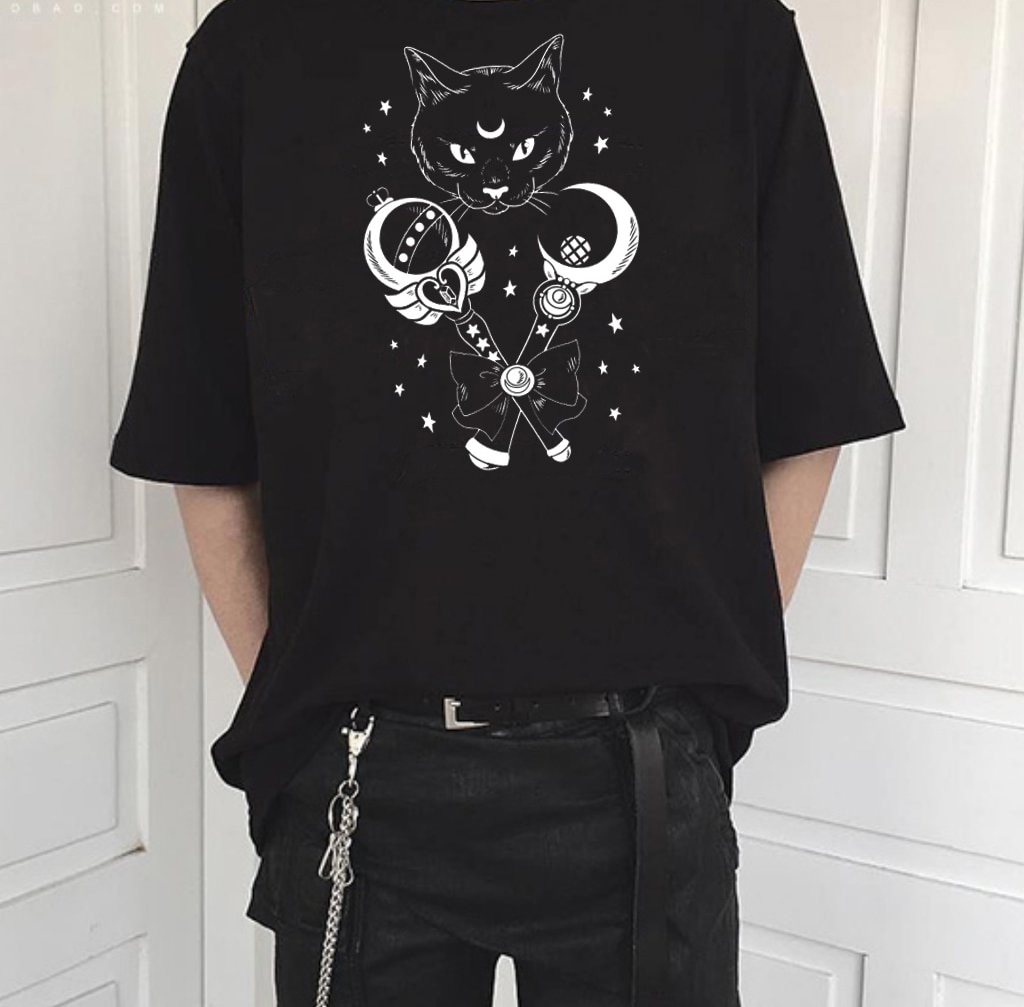 Fashionshow-JF Sailor Moon Cat Magic Wand divertida camiseta para mujer impresa de manga corta de algodón estilo callejero japonés camisetas de Anime