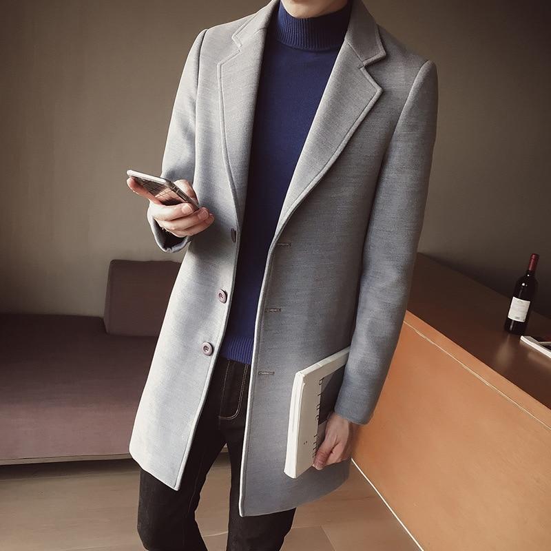 Autumn Winter 2020 Men's Wool Blend Coat Windbreaker Mid-length Trench Coat Korean Slim Woolen Coat