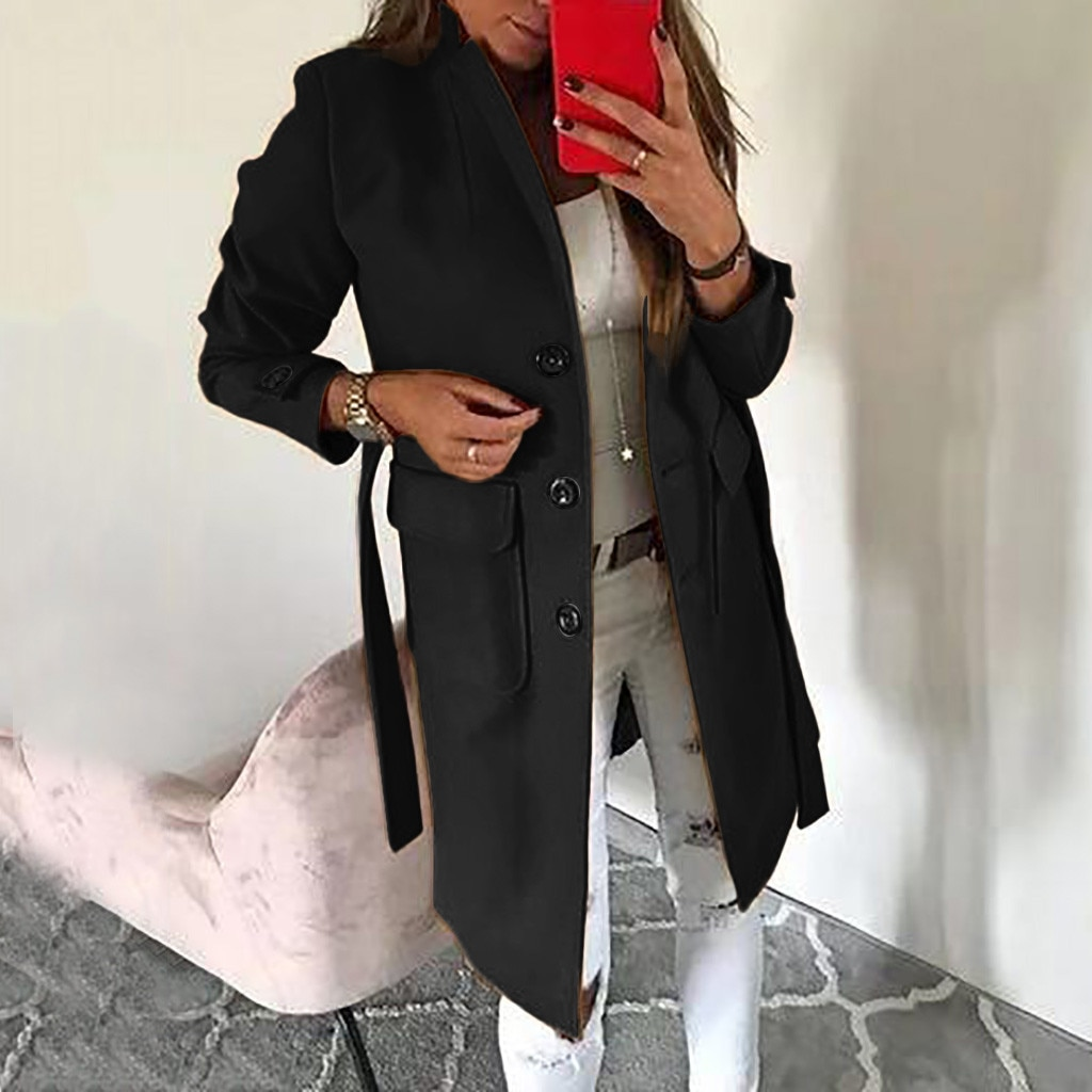Chaqueta de lana Artificial para mujer, elegante, informal, de señora, delgada, de manga larga, mezcla, delgada, larga, chaqueta de abrigo exterior para mujer, #111