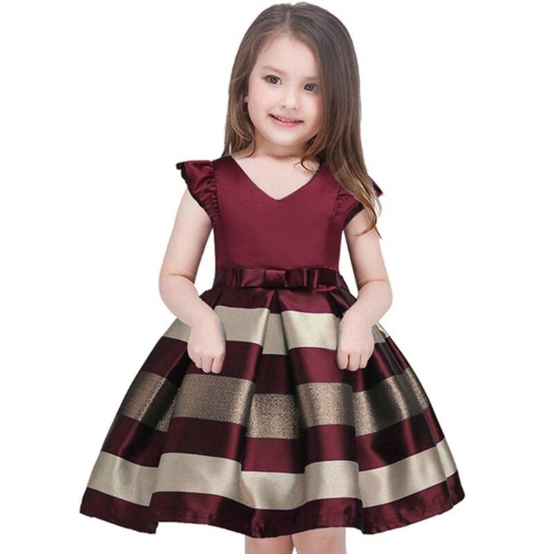 Платье принцессы для маленьких девочек, платье в полоску Без Рукавов Для детей ясельного возраста, костюм в европейском и американском стиле, модная одежда