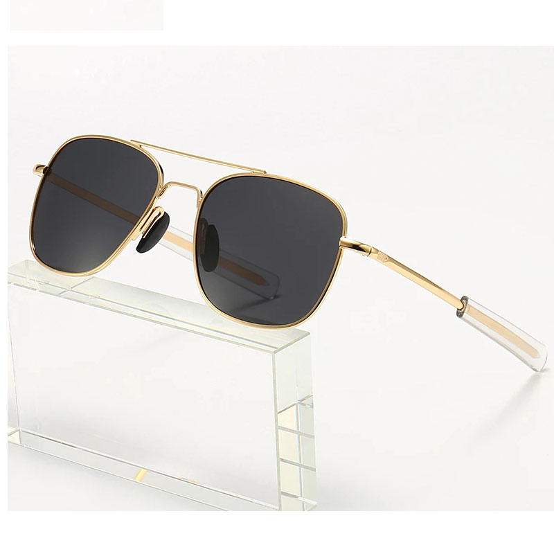 New Top Quality Metal Brand Design Classic Sunglasses Men Military Army Pilot Style Polarized 52mm S