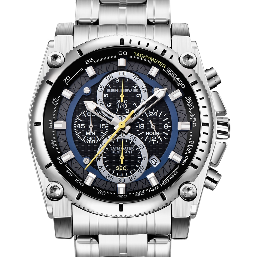 Relógios de Aço Relógio de Pulso de Negócios à Prova Nevis Prata Preto Inoxidável Dwaterproof Água Relógio Quartzo Criativo Cronógrafo Reloj Ben Men
