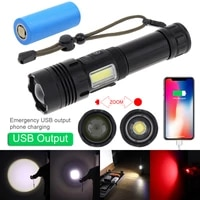 securitying tactical hunting flashlight ultra 7modes light rechargeable usb zoomable led with micro charging 26650 battery