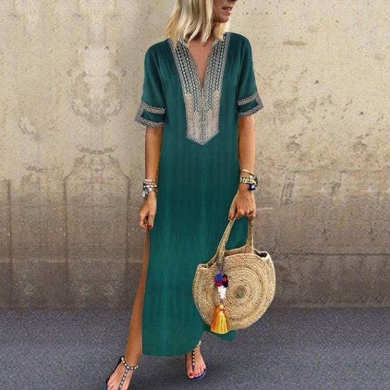 Indie vestido robe feminino, longo manga longa decote em v estampado maxi vestido para verão 2020 vestidos