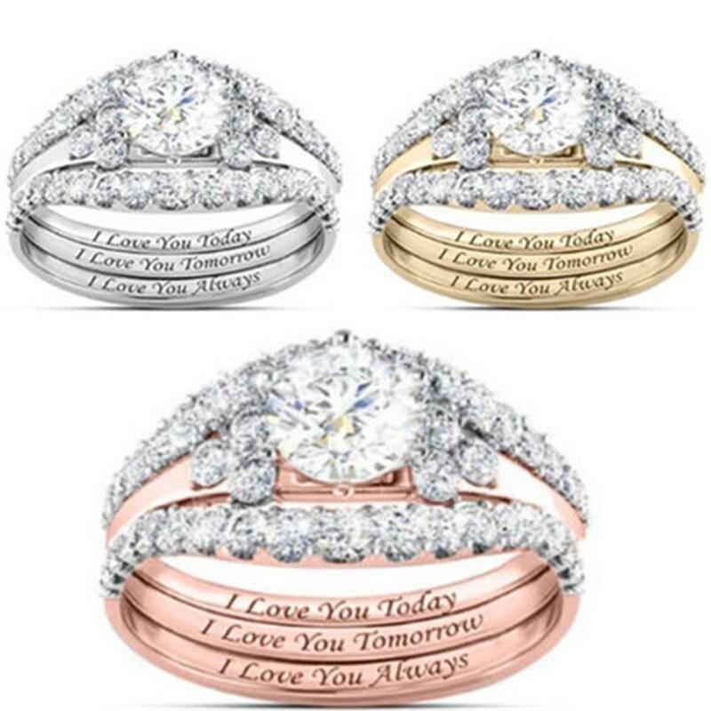 3 unids/set de las mujeres anillos de moda elegante joyería de oro rosa blanco natural novia boda joyería fabulosa anillos