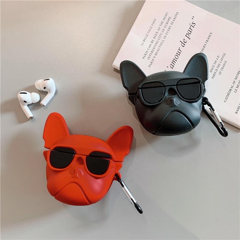 Divertido Bulldog para los Airpods de Apple Pro cubierta de silicona auricular de dibujos lindo Fundas protectoras caja de carga de aire para las vainas Pro 3