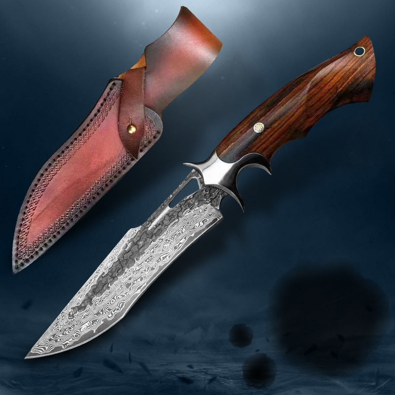 VG10 Damascus Steel Survival Tactical Knife 60 HRC Particles Dalbergia Hunting Outdoor Camping Knife Leather Sheath Gift EDC Too
