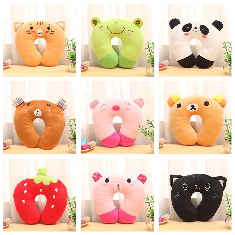 New Cartoon U-Shaped Pillow Neck U-pillow Cervical  NAP Cute Airplane Travel Pillow Panda Pig Tiger Black Cat Cute Neck Pillow