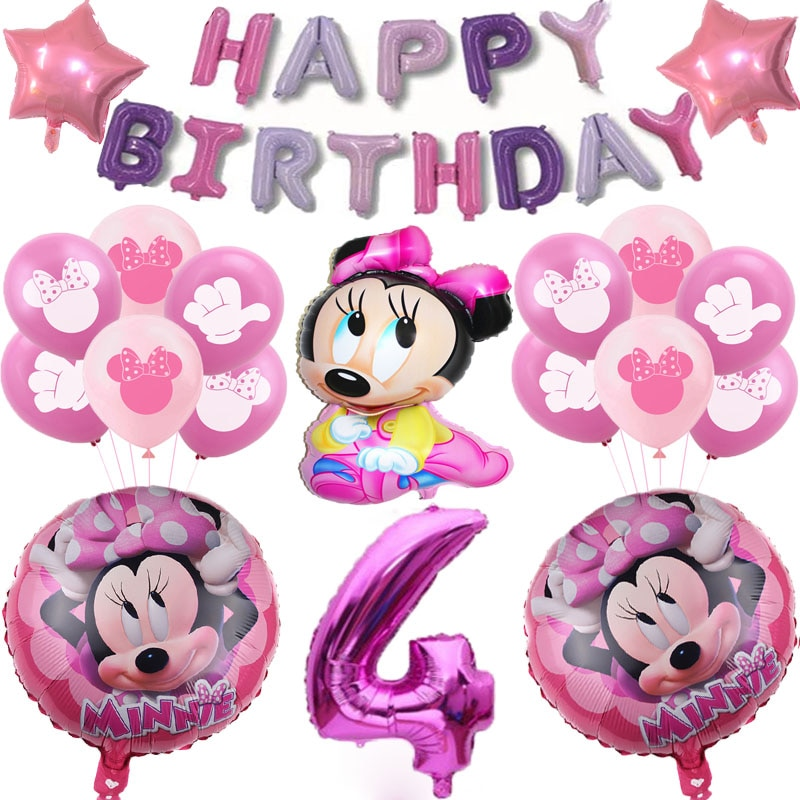 19pcs/lot Disney Minnie Foil Balloons 32inch Number Mickey Mouse Birthday Party Decorations Baby Shower Supplies Kids Toys Globs