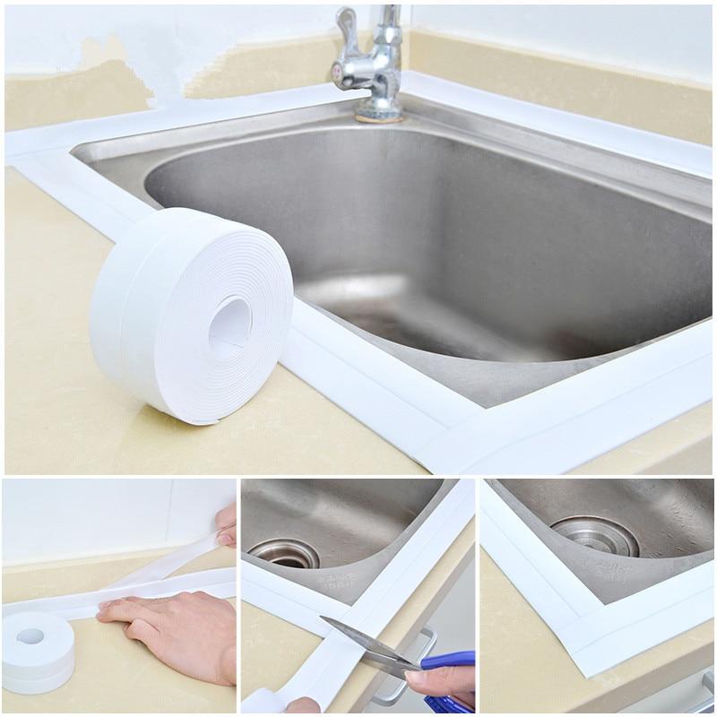 3,2 m x 38mm baño cocina fregadero bañera sello cinta blanco PVC autoadhesivo adhesivo impermeable para pared